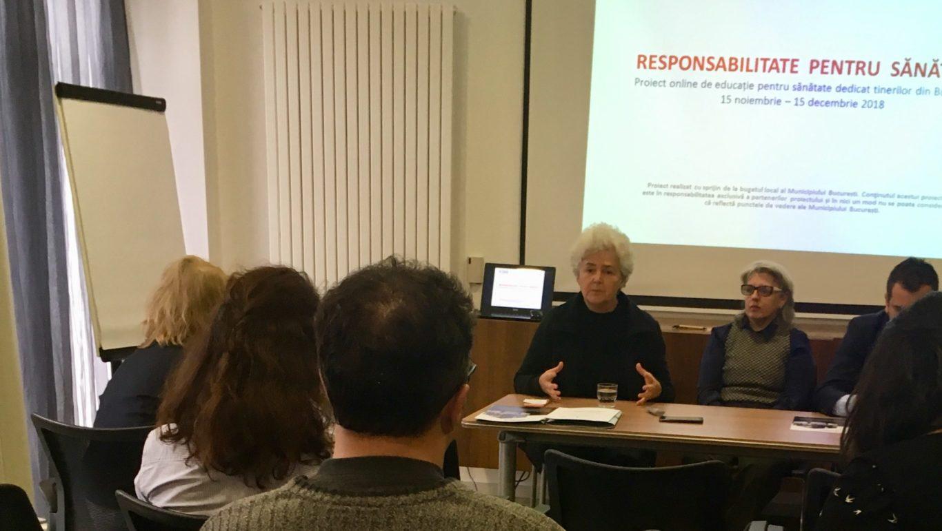 """""""Responsabilitate pentru sănătate"""", un proiect dedicat tinerilor din București"""